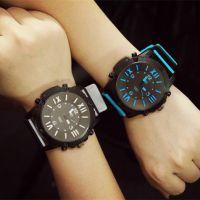 14年新款QF双色表带潮流韩版中性表男女可戴复古表大表盘手表