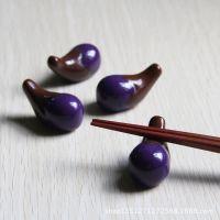 和风手绘陶瓷创意餐具茄子餐桌小摆件筷子架日单外贸陶瓷