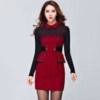 秋冬新款女装打底裙长袖气质收腰包臀毛呢连衣裙 广州服装代发货