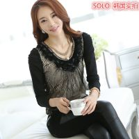 29112韩国实拍 秋季女装新款 韩版修身钉珠链条蕾丝打底衫女