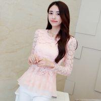 韩国东大门新款秋装T恤女欧根纱裙摆上衣蕾丝打底衫长袖一件代发