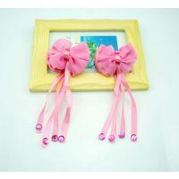 韩国新款蝴蝶结抓夹款飘带 儿童对扎发夹 长丝带头花 1对价