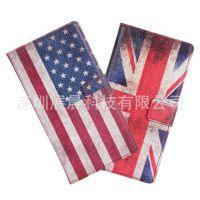 HTC Desire 500彩印钱包款手机皮套外壳英国美国国旗左右翻保护壳