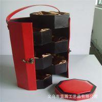 供应皮质月饼盒 手提式八角形月饼盒 中秋送礼专用礼品包装盒