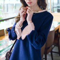 2014新款韩版秋冬季女装长袖名媛气质淑打底蓝色毛呢连衣裙