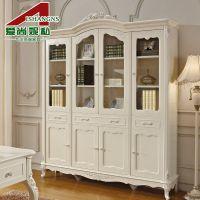 爱尚妮私家具 欧式书柜 法式雕花实木书柜 玻璃窗户四门书架H906