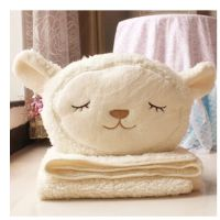 多利羊可爱小绵羊空调毯大号盖毯宝宝毯午休车载靠垫两用小毯子