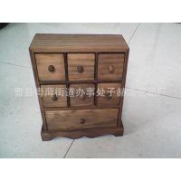 复古风木质收纳盒多格加带抽屉式化妆品收纳盒定做大量货品可加工