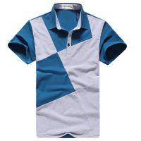 夏装男装拼接POLO衫短袖T恤男式翻领打底衫加工厂家来样来图定做