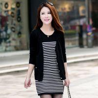 2014秋装新款韩版宽松版条纹二件套长袖针织衫开衫打底衫女