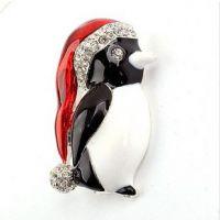 XZ6011 速卖通企鹅胸针 七彩水钻 个性动物 韩版别针配饰品批发