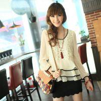 秋装女装T恤 2012新款白色圆领荷叶边长袖雪纺衫显瘦女长款打底衫