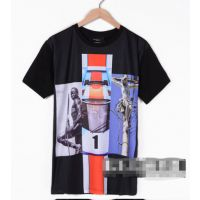 供应2014GIV陈冠希个性 纪家 欧美时尚黑人耶稣拼接照片情侣款短袖T恤