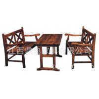 方木长桌厂家 碳化木方木长桌批发价 实木餐厅桌椅 防腐木桌椅