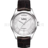 深圳厂家定制瑞士进口真皮带手表 防水双日历男士商务机械手表