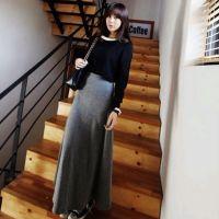 L40批发夏季韩版女装修身大摆鱼尾裙长裙 厚纯色磨毛棉大摆长裙多