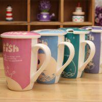 创意FISH带勺带盖杯马克杯捕鱼达人陶瓷杯 超萌丑丑鱼礼品杯