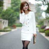 秋冬新款韩版修身泡泡袖打底衫一步裙 女式连衣裙L099