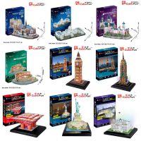 乐立方3D立体拼图 LED灯饰 升级装新天鹅城堡 巴黎圣母院建筑模型