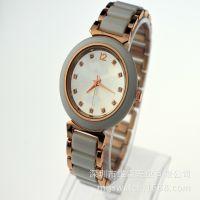 2014年新款白色陶瓷套装手表 新工艺制作高档女士手表工厂批发
