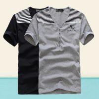供应批发一件代发男装 纯棉拼接男式V领百搭韩版T恤时尚Tee YJ14L35