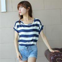 2014新款条纹T恤女韩版短袖夏装上衣女装韩版潮打底衫 条纹 雪纺