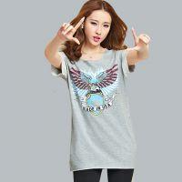 15春新款韩版时尚大码女装 中长款打底衫 短袖印花棉T恤女233510