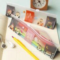 韩版创意三角透明PVC笔袋 文具收纳袋 卡通文具笔袋