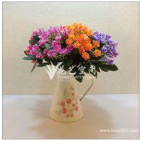 厂家低价促销 6头米兰松果花 塑料假花 仿真盆栽 仿真花小盆花