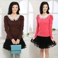 秋装新款女装韩版绣花娃娃领t恤 长袖时尚棉打底衫厂家直销代发