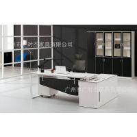 新款上市 黑白钢架桌 主管桌 经理桌简约时尚 广州办公家具厂家直销