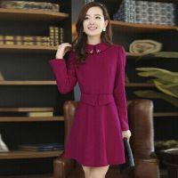 服装女装秋冬新款修身显瘦镶钻娃娃领长袖毛呢连衣裙打底韩版女装