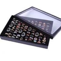 【欣橙】100展位透明盖戒指盘 戒指盒 戒指架 戒指展示架 首饰盒