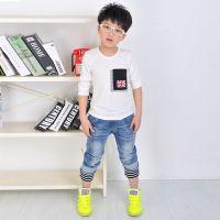 2014秋款童T恤 韩版男童米字口袋长袖T恤打底衫 儿童t恤批发