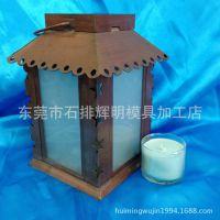工廠专业订做欧美风简约金属古铜色经典磨砂玻璃中号风灯款烛台