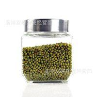 直供沃尔玛带亚克力盖透明玻璃方形储物罐