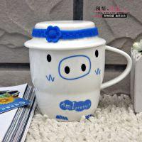 J1401 900单杯,手提纸盒陶瓷杯,可爱猫咪,卡通笑脸水杯,茶杯