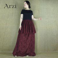 2014款盛行酒红色蕾丝拼接长款连衣裙 小礼服风格 货号xl1403
