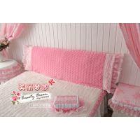 BeautyDream冬季暖绒粉色  蕾丝 床头罩 韩版公主家纺