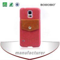 塑胶类现货S5硬壳后置口袋插卡设计三种纹路二合一贴皮手机套