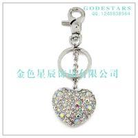 水晶水钻韩国创意女士男士汽车钥匙扣链情侣包包挂件可爱满钻心形