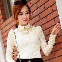 2014秋冬新款韩版加绒加厚修身显瘦长袖雪纺蕾丝衫女 打底衫上衣