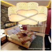 布艺吸顶灯卧室餐厅羊皮拉丝吸顶灯具四叶花吸顶灯