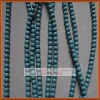 天然石批发 首饰配件 绿松石散珠 diy隔珠散珠 6mm圆珠 蓝色松石