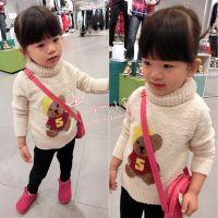 童装2014秋冬新款韩版小熊图案加厚米色高领打底衫毛衣