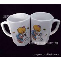 厂家批发色釉陶瓷杯 六边形八边形强化瓷异型杯 高白瓷注浆马克杯
