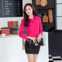 2014秋季女装新款韩版气质职业打底衫 长袖泡泡袖衬衫厂价直销