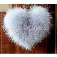 桃心兔毛球钥匙扣 毛球钥匙挂件 女士手袋挂件 创意礼品 厂家定做