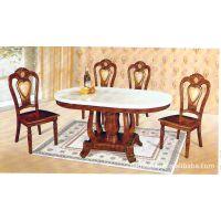 【厂家打折扣价售】实木棕色椭圆形大理石餐厅桌子/餐桌/酒店桌