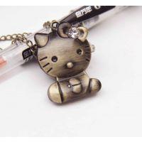 仿古表 复古表装饰挂件表项链表HELLO KITY 猫卡通表 蝴蝶节KT猫